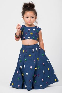 Denim lehenga with pockets featuring mirror thread ghungroo embroidery; Sheer ivory dupatta with gold trim Estimated shipping: weeks Kids Party Wear Dresses, Kids Dress Wear, Dresses Kids Girl, Kids Outfits Girls, Girl Outfits, Baby Dress Design, Baby Girl Dress Patterns, Baby Frocks Designs, Kids Frocks Design