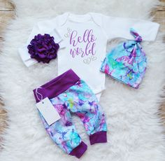 Baby Girl Clothes Baby Girl Coming Home Outfit Newborn Girl Outfit Hello World Baby Girl Outfit Photo Prop Baby Shower Gift Baby Gift Baby Girl Names, My Baby Girl, Baby Girl Newborn, Boy Names, Baby Boys, Cute Baby Girl Outfits, Cute Baby Clothes, Kids Outfits, Babies Clothes