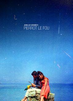 "Anna Karina & Jean-Paul Belmondo in Jean-Luc Godard's ""Pierrot Le Fou"""