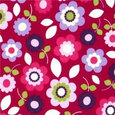 fuchsia flannel fabric colourful flowers by Robert Kaufman