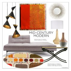 """""""Mid-Century Modern 2"""" by theseapearl ❤ liked on Polyvore featuring interior, interiors, interior design, home, home decor, interior decorating, Mirror Image Home, Redford House, Surya and Global Views"""