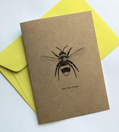 printed greeting card printed on white card with a blank inside.All cards come packaged in a transparent sleeve with a coordinating coloured envelope. Colored Envelopes, Bee, Greeting Cards, Pretty, Honey Bees, Bees