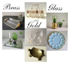 Brass Glass and Gold by gazaboovintage on Polyvore featuring polyvore interior interiors interior design home home decor interior decorating vintage