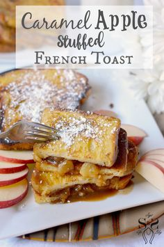 Treat your family to Caramel Apple Stuffed French Toast, it's perfect for Saturday morning brunches. Challah French Toast, French Toast Rolls, Nutella French Toast, French Toast Bake, French Toast Recipes, Apple French Toast, Pain Perdu Simple, Brunch Recipes, Breakfast Recipes