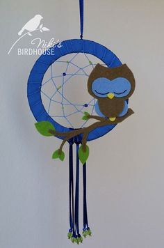 Blue Owl Dreamcatcher  nursery mobile by NikisBirdhouse on Etsy