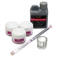 Pro Acrylic Nail Art Set Kit Crystal Powder Liquid Manicure Tool Brush