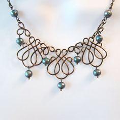 Filo di bronzo opera collana Set alzavola perle di TheWireRose
