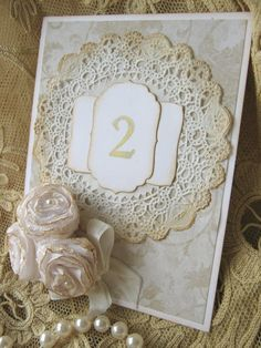 Roses and Lace Wedding Table Numbers #creative #table #numbers #roses #lace