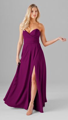 Sassy, sweet, and chic, this strapless chiffon bridesmaid dress is the perfect style for the big day. Featuring a deep v-neckline, side slit, and pockets -- this isn't your traditional strapless dress! Available in 20+ colors. Featured in Mulberry. | Kennedy Blue Poppy