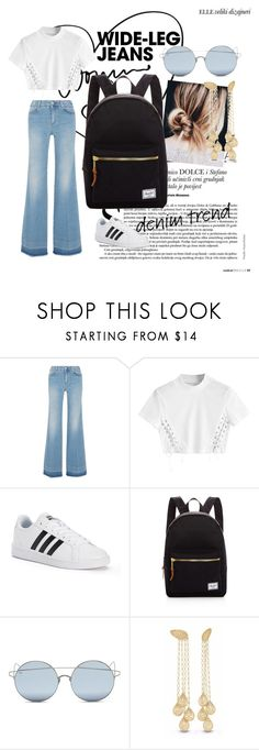 """Wide leg jeans"" by ariiikmk ❤ liked on Polyvore featuring STELLA McCARTNEY, adidas, Herschel Supply Co., For Art's Sake, denimtrend and widelegjeans"