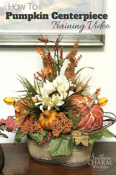 Wreath Making of the Month Club Learn how to make stunning fall pumpkin centerpieces in our wreath making of the month club. Source by southernwreaths Fall Floral Arrangements, Pumpkin Arrangements, Pumpkin Centerpieces, Fall Flowers, Fall Wreaths, Thanksgiving Decorations, Fall Decorations, Fall Pumpkins, How To Make Wreaths