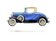 Ford Model A Roadster vintage automobile от FlightsByNumber, $20.00