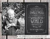 Vintage Chalkboard Style Christmas Card - Custom Photo Card - Holiday Song Lyrics - Black and White - Grey - Charcoal