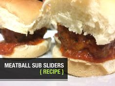Easy recipe: Meatball Sub Sliders! Meatball Sliders, Meatball Subs, Bison Recipes, Bison Meat, Slider Buns, Top Bun, Slider Recipes, Spaghetti Sauce, Italian Seasoning