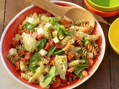 Improve your traditional Italian Pasta Salad with the addition of artichoke hearts, mozzarella, pepperoni, tomatoes, pepperoncini and basil.