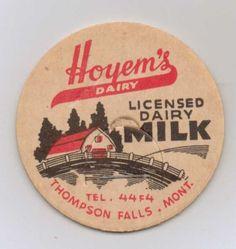 Milk Bottle Cap Hoyem's Dairy Thompson Falls MT