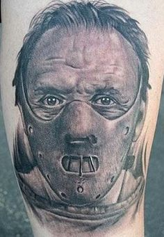 Hannibal Lecter tattoo.  The detail is extraordinary!
