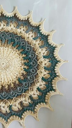Ravelry: Etienne pattern by Grace Fearon Purchase at least three of my patterns and receive a discount or purchase at least six and receive a discount! This discount is automatically applied to your cart by adding the minimum number of my paid patterns. Motif Mandala Crochet, Crochet Cushion Pattern, Crochet Cushions, Crochet Doily Patterns, Thread Crochet, Crochet Designs, Doily Rug, Knitting Patterns, Crochet Winter