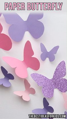 PAPER BUTTERFLY - these paper butterflies are so fun to make! A fun and easy spring craft for kids. This Free Butterfly Template Printable is perfect for a Spring or Butterfly Wall Art DIY craft. 3 Butterfly Cut Out Templates included to make a paper butt Spring Crafts For Kids, Paper Crafts For Kids, Paper Crafting, Fun Crafts, Diy And Crafts, Decor Crafts, Diy Paper Crafts, Simple Crafts, Creative Crafts