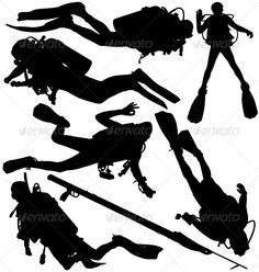 Buy Scuba Diver and Speargun Vector Silhouettes by on GraphicRiver. Scuba diver and speargun vector silhouettes. EPS and AI files saved in Illustrator layered and fully editable. Scuba Diving Courses, Scuba Diving Equipment, Scuba Diving Gear, Padi Diving, Dolphin Silhouette, Silhouette Vector, Scuba Diver Tattoo, Sports Decals, Underwater