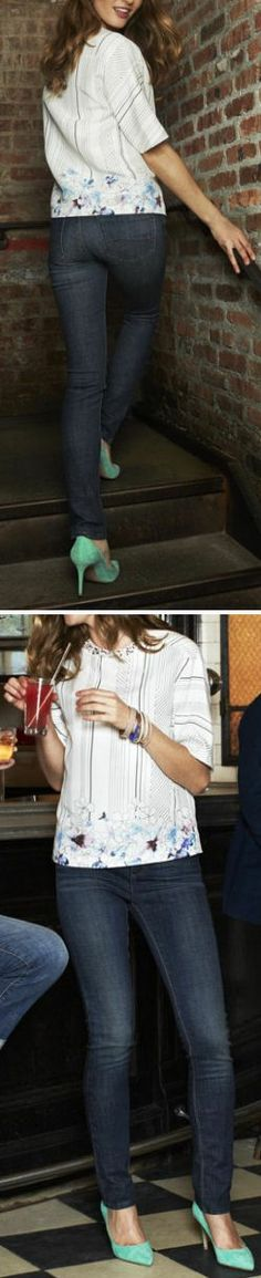 Perfect Girl's Night Out Outfit // Jeans & a PoP of Color w/Pumps <3