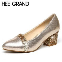 HEE GRAND Glitter High Heels 2017 Bling Pumps Gold Platform Women Shoes Fashion Slip On Wedding Shoes Woman Size 35-41 WXG343
