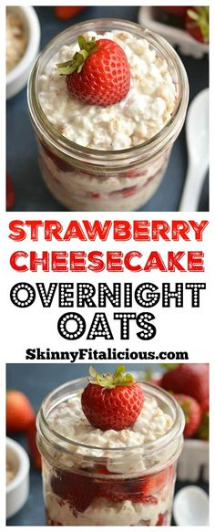 This Strawberry Cheesecake Overnight Oats recipe is prepped in less than 5 minutes so you can have a healthy, egg-free breakfast ready to go every morning!