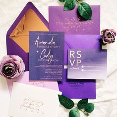 purple & rose gold wedding invitation suite Paper Companies, Wedding Invitation Suite, Purple Roses, Gold Wedding, Pretty Little, Custom Design, Marriage, Gift Wrapping, Rose Gold