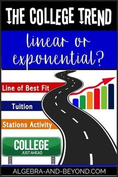 College Trend Project - Compare exponential and linear regression lines based on college tuition trends. Includes a self-check stations activity! All editable. Algebra Projects, Algebra Activities, Math Resources, Secondary Resources, Secondary Math, Math Teacher, Math Classroom, Teaching Math, Classroom Ideas