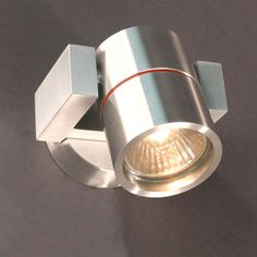 Outdoor spot wall lamp in chromed metal with red details Wall I Sessak