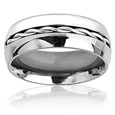 Titanium Rope Twist Inlay Center Ring   Overstock.com Shopping - Big Discounts on West Coast Jewelry Men's Rings