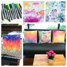 DIY Sharpie Cushions / Preschool project / Use Sharpies to draw on white cotton cushion covers, have an adult spray with rubbing alcohol, let dry, ENJOY!