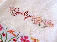 Country Garden Stitchery: July Larkspur Flour Sack Kitchen Towel