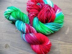 Hand Dyed Yarn, Worsted Weight, 100% Superwash Merino Wool, Green Red Pink Aqua…