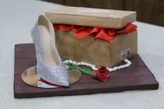 Christian Louboutin Shoe Cake  decollete 554 strass, red velvet