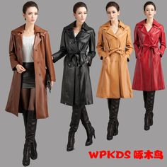Plus Size 2015 Sheepskin Genuine Leather Long Design Genuine Leather Double-Breasted Trench Coat  Women Slim Long Coat / M-3XL