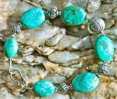 Natural turquoise and sterling silver bracelet.