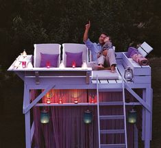 Outdoor loft. Not quite a treehouse, but it'll do!