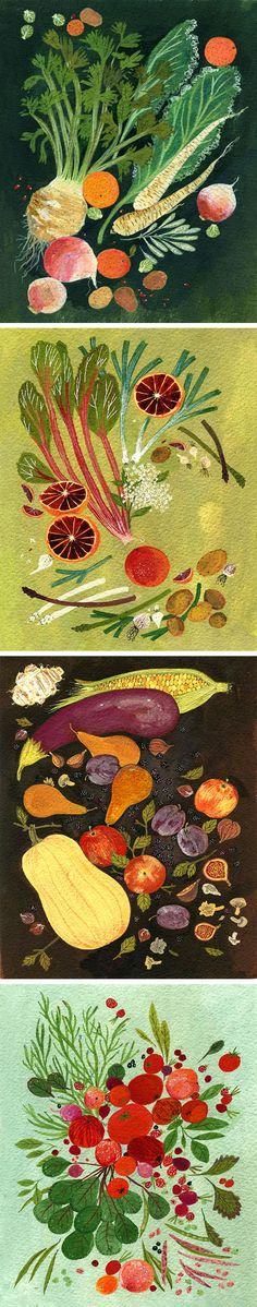 Food illustrations for the 2012/13 Jamie Oliver Recipe Yearbook by Becca Stadtlander