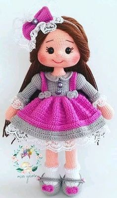 28 ideas for Amigurumi doll patterns. Crocheted doll with purple dress and long hair., 28 ideas for Amigurumi doll patterns. Crocheted doll with purple dress and long hair. Amigurumi Amigurumi 28 ideas for Amig Crochet Dolls Free Patterns, Doll Dress Patterns, Crochet Doll Pattern, Amigurumi Patterns, Crochet Doll Dress, Crochet Doll Clothes, Knitted Dolls, Crochet Teddy, Stuffed Animal Patterns