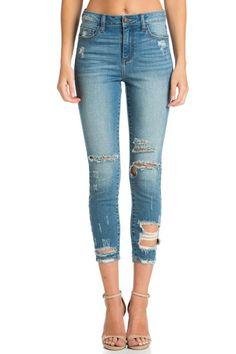 b9b934af88a65a High-Rise Medium Skinny w Distressed Hem. Cropped Skinny JeansRipped  DenimDistressed ...
