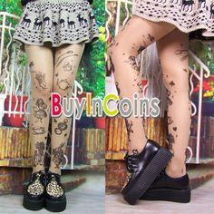Women Alice Printed Tattoo Transparent Pantyhose Leggings Stockings Tights SACA #bic #Pantyhose