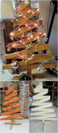 Genius Ways to Reuse Wasted Wood Pallets Wood pallet Christmas tree is greater in demand in many of the houses especially among those who do not prefer using the unreal Christmas tree decorations. You can design a giant size of the wood pallet tree design Pallet Tree, Pallet Christmas Tree, Rustic Christmas, Christmas Holidays, Xmas Tree, Christmas Projects, Holiday Crafts, Holiday Decor, Christmas Ideas