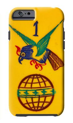 The Hawk and Globe tile shown on this phone case is one of the top images prized by collectors of vintage Mah Jongg sets.