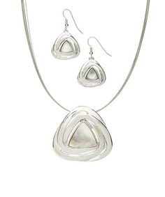 $16.99 Look at this #zulilyfind! Silvertone Triangle Shell Necklace & Earrings Set #zulilyfinds