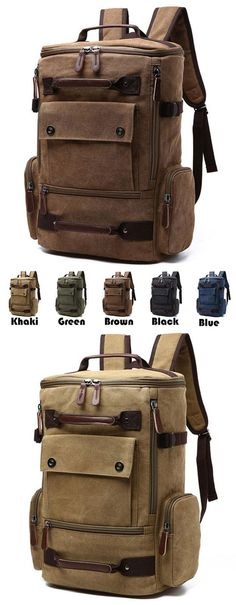 Retro Washing Color School Backpack Travel Outdoor Backpack Large Capacity Boy's Canvas Zipper Backpack for big sale! #large #outdoor #school #college #backpack #Bag #rucksack #student #girl #travel #cute
