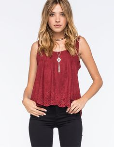 """Full Tilt Suede Cage Back tank. This soft suede tank features a high neck design. Strappy cage back. Slightly cropped design. Pair this simple tank with anything from printed shorts to destructed skinny jeans. Approx length: 18. 92% polyester/8% spandex. Machine wash. Imported.  <BR><BR>Model is wearing a size small. Model measurements:<BR>Height: 5'9""""<BR>Bust: 34""""<BR>Waist: 23""""<BR>Hips: 34"""""""