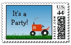 Red Tractor Party Postage Stamp