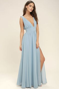 You'll be goddess-like for the entire evening in the Heavenly Hues Light Blue Maxi Dress! Georgette fabric drapes alongside a V-neck and back, and lays across a banded waist. Full maxi skirt has a sexy side slit. Hidden back zipper with clasp.