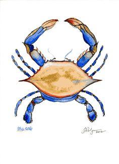 Blue Crab Print - Watercolor and Pen Illustration by Tiffany Pelczar Crab Illustration, Crab Art, Pen And Watercolor, Art Portfolio, Sea Creatures, Photo Art, Watercolors, Artwork, Blue Crabs